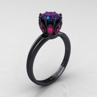 Classic 14K Black Gold Marquise Pink Sapphire 1.0 Ct Round Alexandrite Solitaire Ring R90-14KBGPSAL