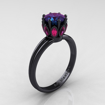 Classic-14K-Black-Gold-Marquise-Rubies-1-0-Ct-Round-White-Diamond-Solitaire-Ring-R90-14KBGRD-P