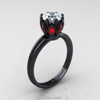 Classic 14K Black Gold Marquise Rubies 1.0 Ct Round Diamond Solitaire Ring R90-14KBGRD