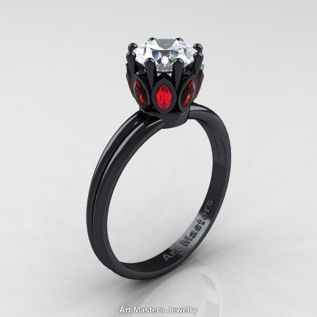 Classic-14K-Black-Gold-Marquise-Ruby-1-0-Ct-Round-White-Diamond-Solitaire-Ring-R90-14KBRRSD-P
