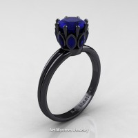Classic 14K Black Gold Marquise 1.0 Ct Round Blue Sapphire Solitaire Ring R90-14KBGBS