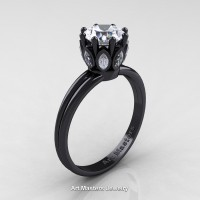 Classic 14K Black Gold Marquise and 1.0 Ct Round Diamond Solitaire Ring R90-14KBGD