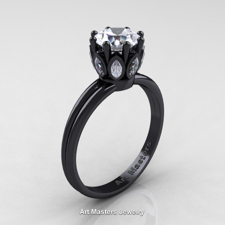 Classic-14K-Black-Gold-Marquise-and-1-0-Carat-Round-Diamond-Solitaire-Ring-R90-14KBGD-P