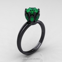 Classic 14K Black Gold Marquise 1.0 Ct Round Emerald Solitaire Ring R90-14KBGEM