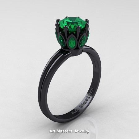 Classic-14K-Black-Gold-Marquise-and-1-0-Carat-Round-Emerald-Solitaire-Ring-R90-14KBGEM-P