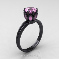Classic 14K Black Gold Marquise 1.0 Ct Round Light Pink Sapphire Solitaire Ring R90-14KBGLPS