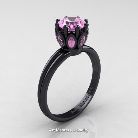 Classic-14K-Black-Gold-Marquise-and-1-0-Carat-Round-Light-Pink-Sapphire-Solitaire-Ring-R90-14KBGLPS-P