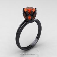 Classic 14K Black Gold Marquise 1.0 Ct Round Orange Sapphire Solitaire Ring R90-14KBGOS