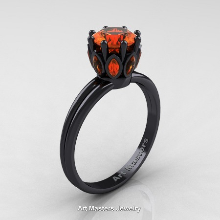 Classic-14K-Black-Gold-Marquise-and-1-0-Carat-Round-Orange-Sapphire-Solitaire-Ring-R90-14KBGOS-P