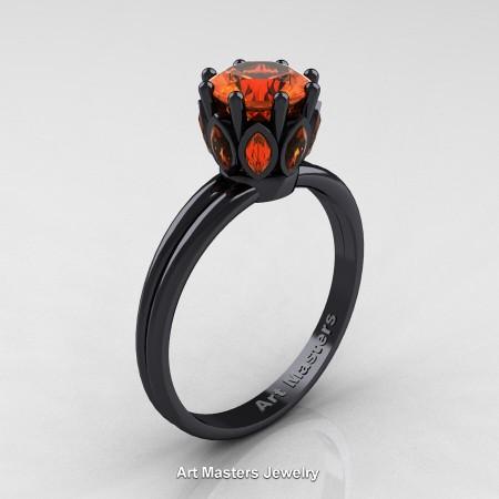 Classic-14K-Black-Gold-Marquise-and-1-0-Carat-Round-Orange-Sapphire-Solitaire-Ring-R90-14KBGOS-P