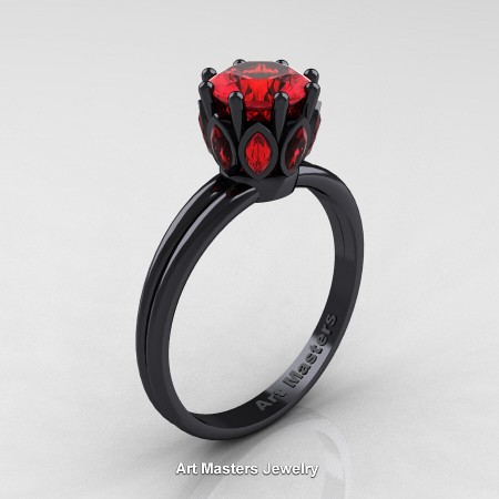 Classic-14K-Black-Gold-Marquise-and-1-0-Carat-Round-Ruby-Solitaire-Ring-R90-14KBGR-P