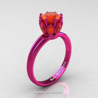 Classic 14K Fuchsia Pink Gold Marquise 1.0 Ct Round Orange Sapphire Solitaire Ring R90-14KFPGOS