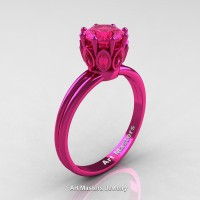 Classic 14K Fuchsia Pink Gold Marquise 1.0 Ct Round Pink Sapphire Solitaire Ring R90-14KFPGPS