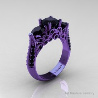 Classic 14K Violet Gold Three Stone Black Diamond Solitaire Engagement Ring Wedding Ring R200-14KVGBD