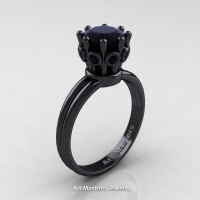 Classic Armenian 14K Black Gold 1.0 Ct Black Diamond Crown Solitaire Ring R490-14KBGBD