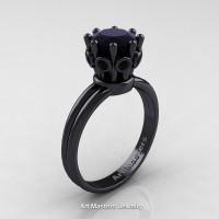 Classic Armenian 14K Black Gold 1.0 Ct Black Diamond Crown Solitaire Ring R490-14KBGBD