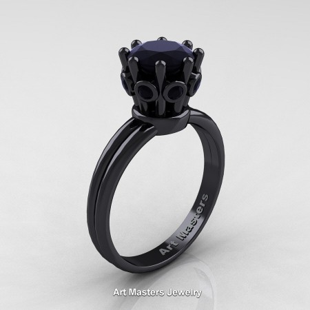 Classic-Armenian-14K-Black-Gold-1-0-Carat-Black-Diamond-Solitaire-Engagement-Ring-R490-14KBGBD-P