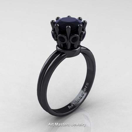 Classic-Armenian-14K-Black-Gold-1-0-Carat-Black-Diamond-Solitaire-Engagement-Ring-R490-14KBGBD-P