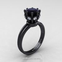 Classic Armenian 14K Black Gold 1.0 Ct Black and White Diamond Crown Solitaire Ring R490-14KBGBDBD