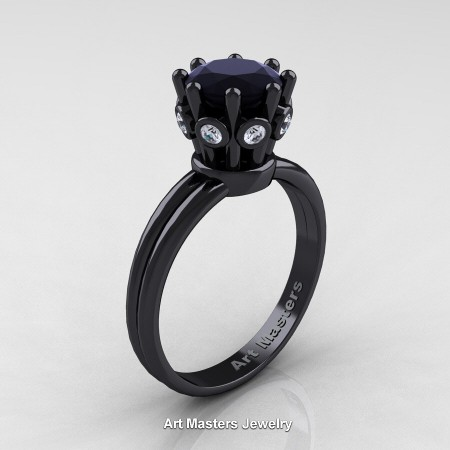 Classic-Armenian-14K-Black-Gold-1-0-Carat-Black-and-White-Diamond-Solitaire-Engagement-Ring-R490-14KBGDBD-P