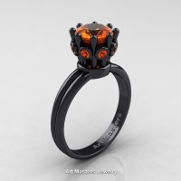 Classic Armenian 14K Black Gold 1.0 Ct Orange Sapphire Crown Solitaire Ring R490-14KBGOS
