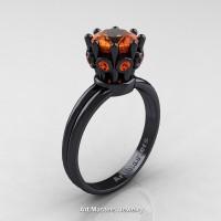Classic Armenian 14K Black Gold 1.0 Ct Orange Sapphire Crown Solitaire Ring R490-14KBGOS
