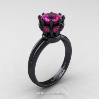 Classic Armenian 14K Black Gold 1.0 Ct Pink Sapphire Crown Solitaire Ring R490-14KBGPS