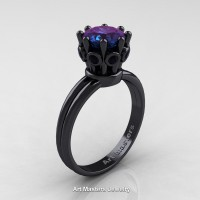 Classic Armenian 14K Black Gold Black Diamond 1.0 Ct Alexandrite Crown Solitaire Ring R490-14KBGBDAL