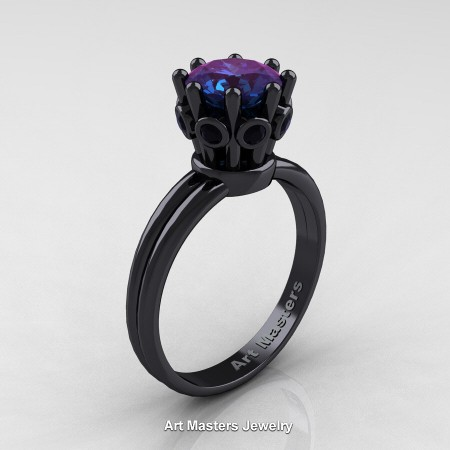 Classic-Armenian-14K-Black-Gold-Black-Diamond-1-0-Ct-Alexandrite-Crown-Solitaire-Ring-R490-14KBGBDAL-P