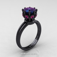 Classic Armenian 14K Black Gold Pink Sapphire 1.0 Ct Alexandrite Crown Solitaire Ring R490-14KBGPSAL