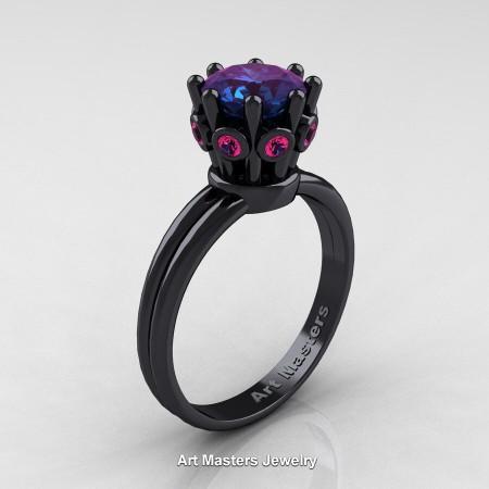 Classic-Armenian-14K-Black-Gold-Pink-Sapphire-1-0-Ct-Alexandrite-Crown-Solitaire-Ring-R490-14KBGPSAL-P