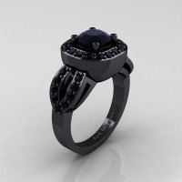 Classic French 14K Black Gold 1.0 Ct Black Diamond Engagement Ring R363-14KBGBD
