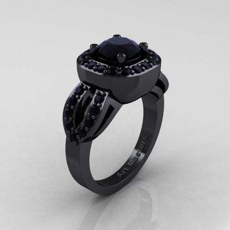 Classic French 14K Black Gold 1.0 Ct Black Diamond Engagement Ring R363-14KBGBD