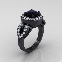 Classic French 14K Black Gold 1.0 Ct Black and White Diamond Engagement Ring R363-14KBGDBD