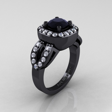 Classic French 14K Black Gold 1.0 Ct Black and White Diamond Engagement Ring R363-14KBGDBD