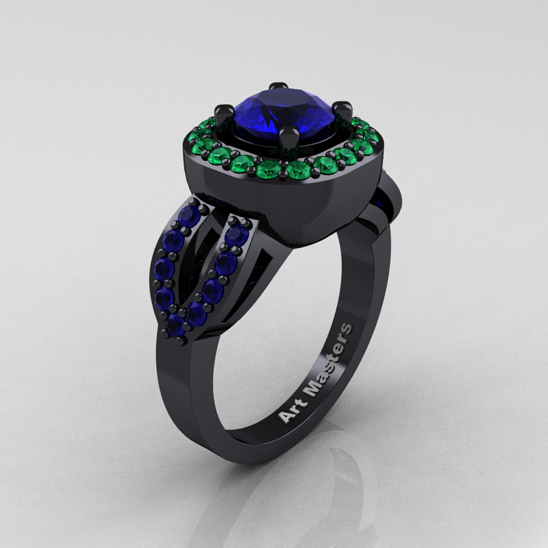 Classic French 14K Black Gold 1.0 Ct Blue Sapphire Emerald Engagement Ring  R363-14KBGEMBS