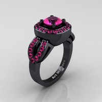 Classic French 14K Black Gold 1.0 Ct Pink Sapphire Engagement Ring R363-14KBGPS