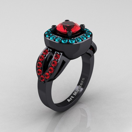 Classic French 14K Black Gold 1.0 Ct Ruby Blue Zircon Engagement Ring R363-14KBGBZR