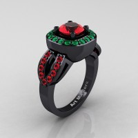 Classic French 14K Black Gold 1.0 Ct Ruby Emerald Engagement Ring R363-14KBGEMR