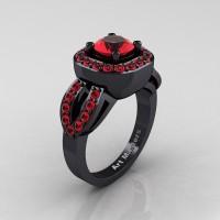 Classic French 14K Black Gold 1.0 Ct Ruby Engagement Ring R363-14KBGR