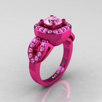 Classic French 14K Pink Gold 1.0 Ct Light Pink Sapphire Engagement Ring R363-14KPGLPS