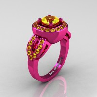 Classic French 14K Fuchsia Pink Gold 1.0 Ct Yellow Sapphire Engagement Ring R363-14KPGYS