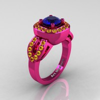 Classic French 14K Fuchsia Pink Gold 1.0 Ct Blue and Yellow Sapphire Engagement Ring R363-14KPGYSBS