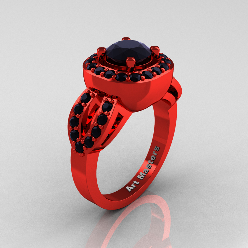 Classic French 14K Red Gold 1 0 Ct Black Diamond Engagement Ring R363 14KREGB
