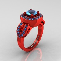 Classic French 14K Red Gold 1.0 Ct Blue Topaz Engagement Ring R363-14KREGBT
