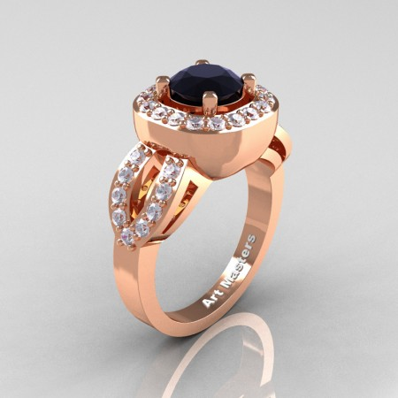 Classic French 14K Rose Gold 1.0 Ct Black and White Diamond Engagement Ring R363-14KRGDBD