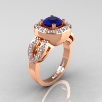 Classic French 14K Rose Gold 1.0 Ct Blue Sapphire Diamond Engagement Ring R363-14KRGDBS