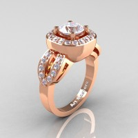 Classic French 14K Rose Gold 1.0 Ct White Sapphire Diamond Engagement Ring R363-14KRGDWS