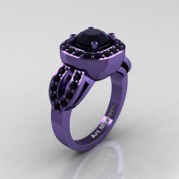 Classic French 14K Violet Gold 1.0 Ct Black Diamond Engagement Ring R363-14KVGBD