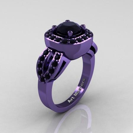 Classic French 14K Violet Gold 1.0 Ct Black Diamond Engagement Ring R363-14KVGBD